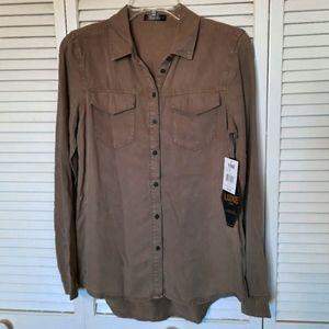 NWT YMI Luxe Tan Button Down Chambray Shirt